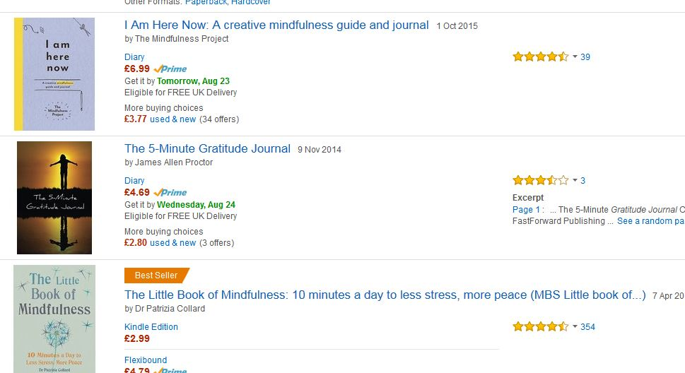 how to find your niche market - amazon results